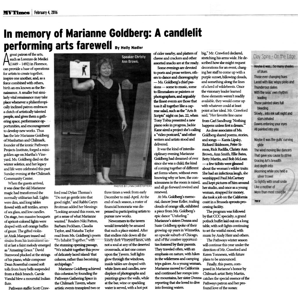 Marianne Goldberg, Performing Artist Marianne Goldberg Farewell, ChristyAnn Brown Farewell to Marianne Goldberg